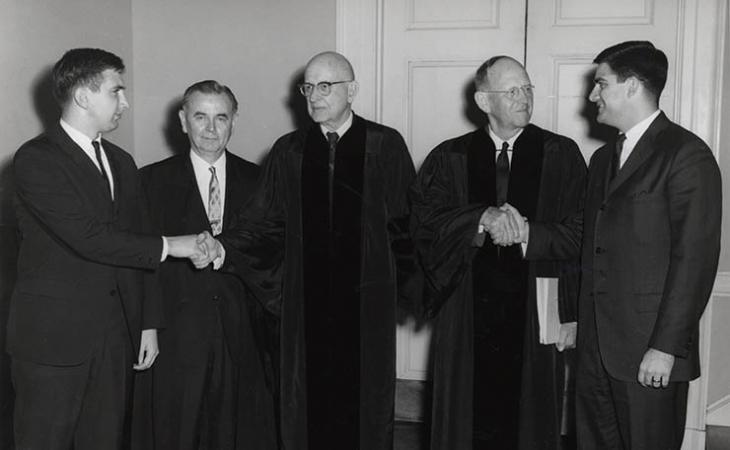 The winners of the 1966 competition pose with the judges.