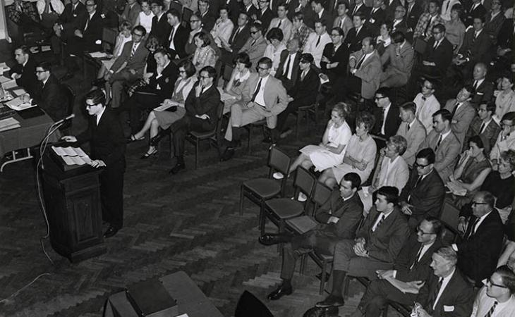 James S. Mathews '66 argues in the 1966 competition.