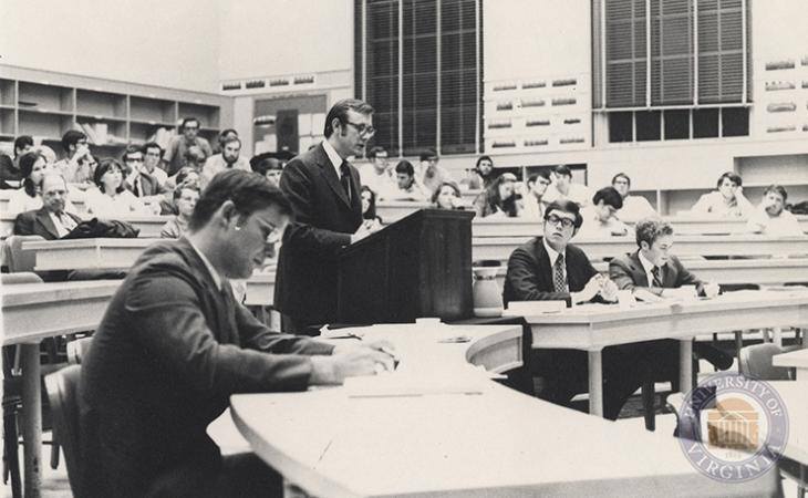 E. Nicholson Gault Jr. '71 argues before a quarterfinal moot court panel in 1970.