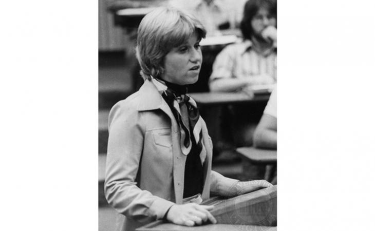Nancy Sparks '76 presents her argument during the quarterfinal round in 1975.