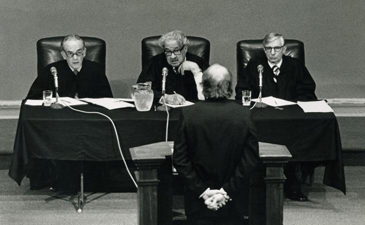 Peter W. Morgan '78 argues before Chief Judge Frank M. Coffin of the U.S. Court of Appeals for the First Circuit, Associate Justice Thurgood Marshall of the U.S. Supreme Court and Judge John D. Butzner of the U.S. Court of Appeals for the Fourth Circuit.