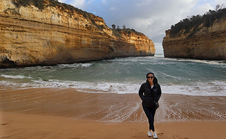 Bakillah stops on the beach at the Great Ocean Road