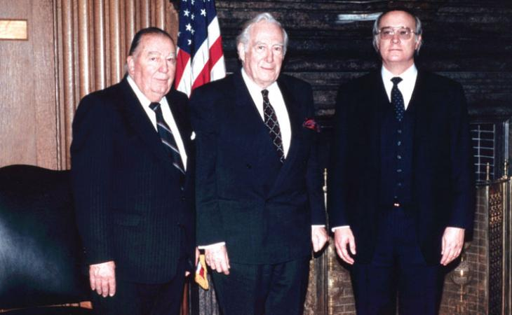 U.S. Sen. Jennings Randolph, U.S. Supreme Court Chief Justice Warren E. Burger and John Norton Moore