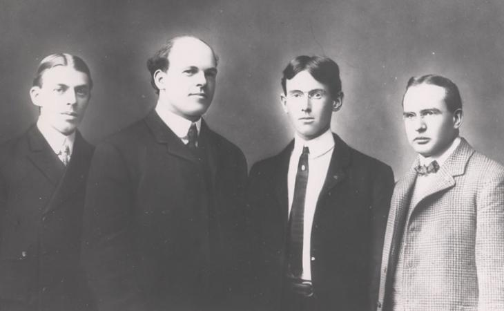 Woodrow Wilson, third from left, was photographed with fellow members of the society.