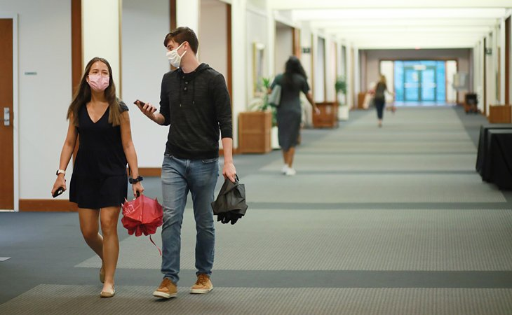 Students in WB hall
