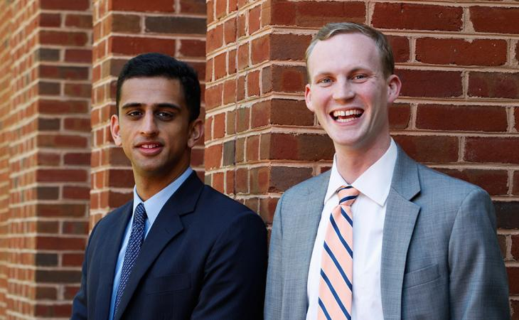 Ashwin Shandilya and Reedy Swanson, who won the 87th William Minor Lile Moot Court Competition in 2016
