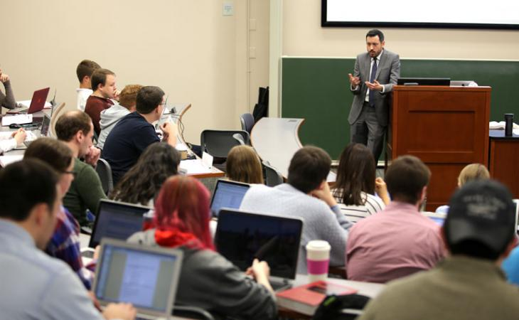 Adjunct professor Ben Sachs probes students' ethical decisions in his class.