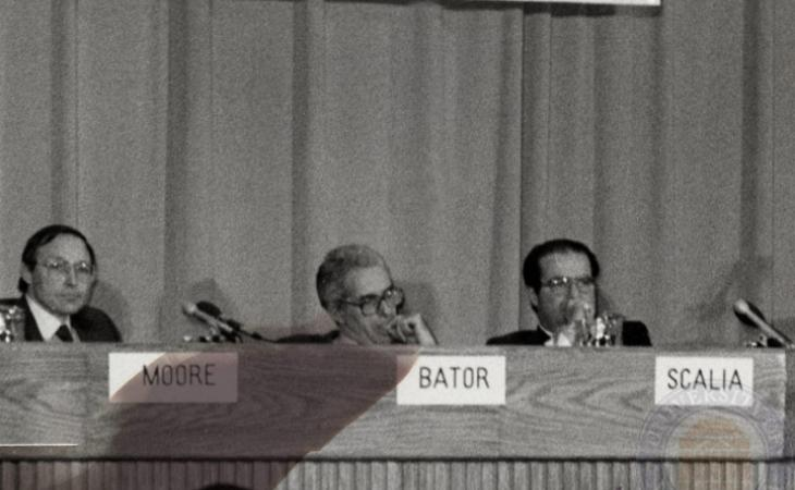 Scalia, right, moderates a Federalist Society panel session