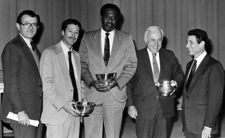 Merrill with then-UVA Law professor Stephen Saltzburg, Charles Beeton, James St. Clair and Howard Stern