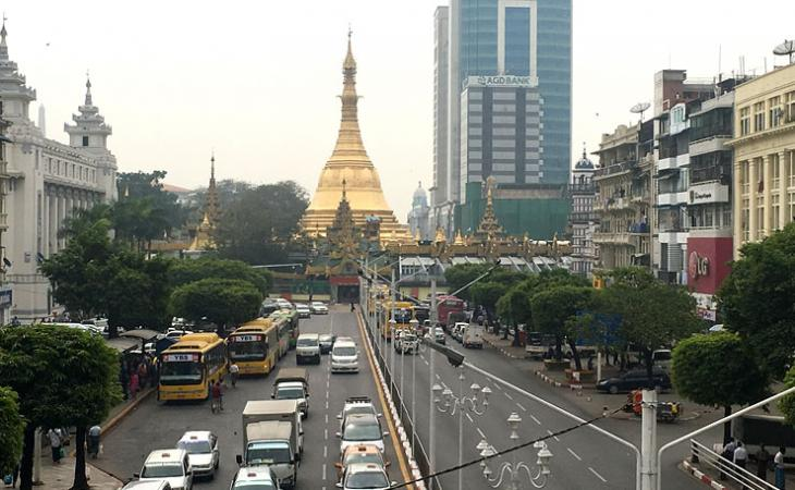 A view of the Sule Pagoda from a bridge in Downtown Yangon, Myanmar.