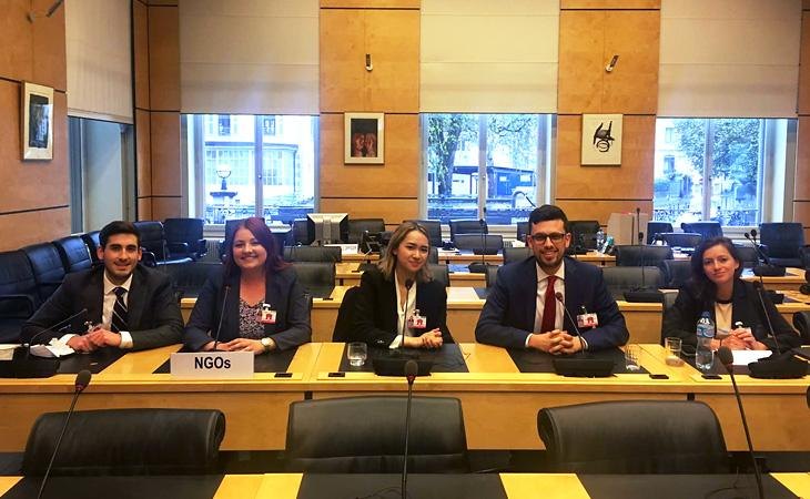 Law school students at UN meeting