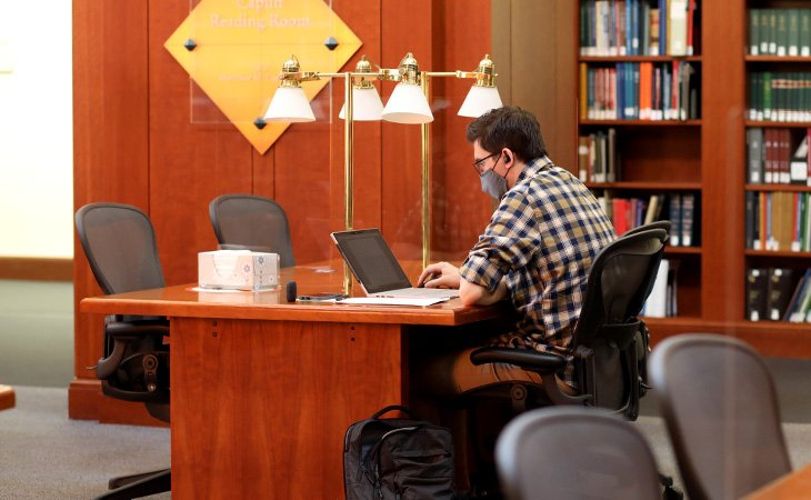 Student using library