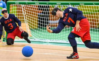 Matt Simpson playing goalball
