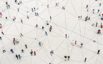 Web of lines connecting people
