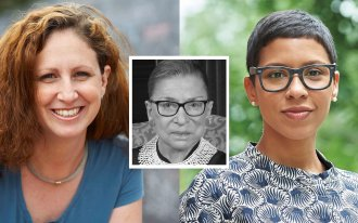 Dahlia Lithwick and Melissa Murray with Justice Ruth Bader Ginsburg, center