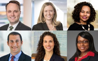 Justin W. Bernick '07, Catherine Cockerham '06, Jennifer C. Everett '08, Aryan Moniri '08, Carly G. Saviano '07 and Jennifer Banner Sobers '05