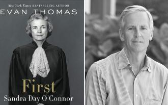 "Evan Thomas with his book on Sandra Day O'Connor, ""First"""
