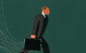 Illustration of a man holding a suitcase with strings coming out of it.
