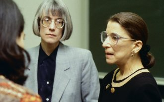 Ruth Bader Ginsburg speaks to Anne Coughlin's class in 1997.