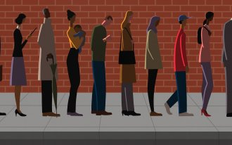 Illustration of people waiting in line to vote.