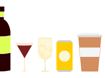 Graphic representation of different drink containers.