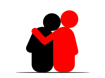 Cartoon image of two people with arms around each other.