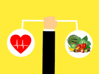 Cartoon image of scales with heartbeat on one side and healthy fruit and vegetables on other.