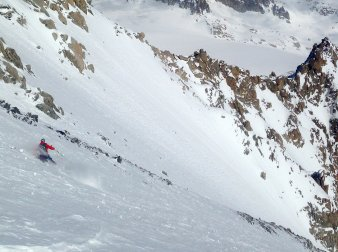 Peter McCarthy skiing on the Aiguille d'Argentière in Chamonix