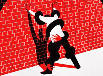 An illustration of a man standing with his hands up against a wall.