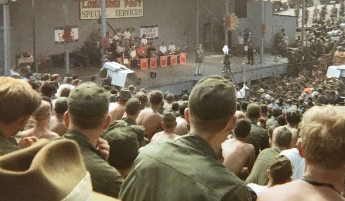 Vietnam soldiers watch Bob Hope