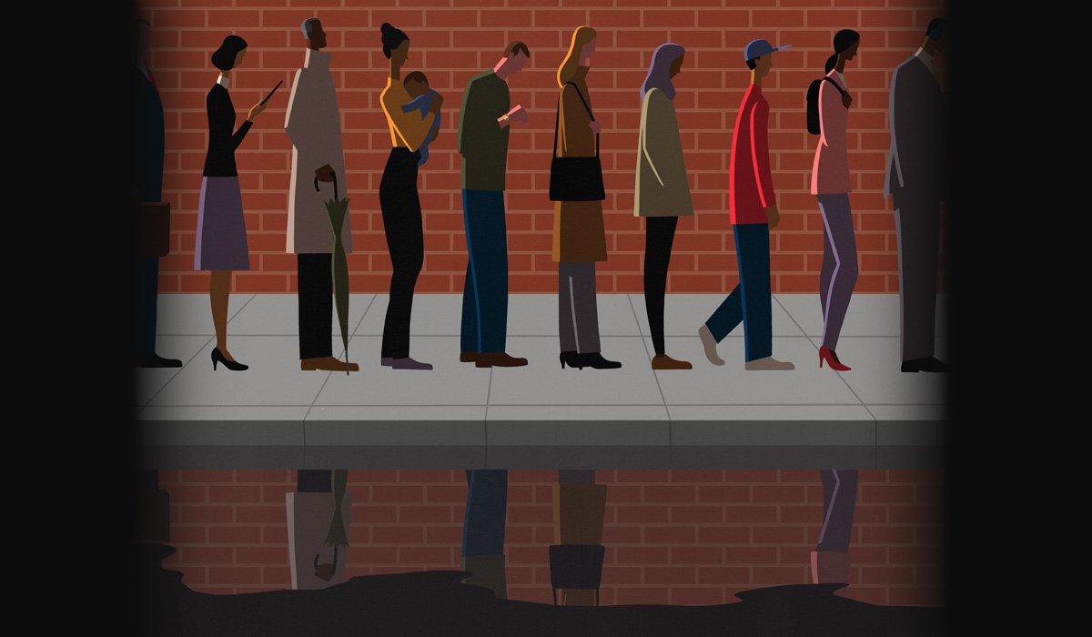 Illustration of people waiting in line.