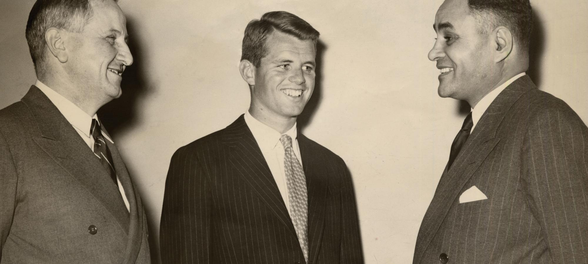 Nobel Prize winner Ralph Bunche, right, with Dean F.D.G. Ribble '21 and Robert F. Kennedy '51