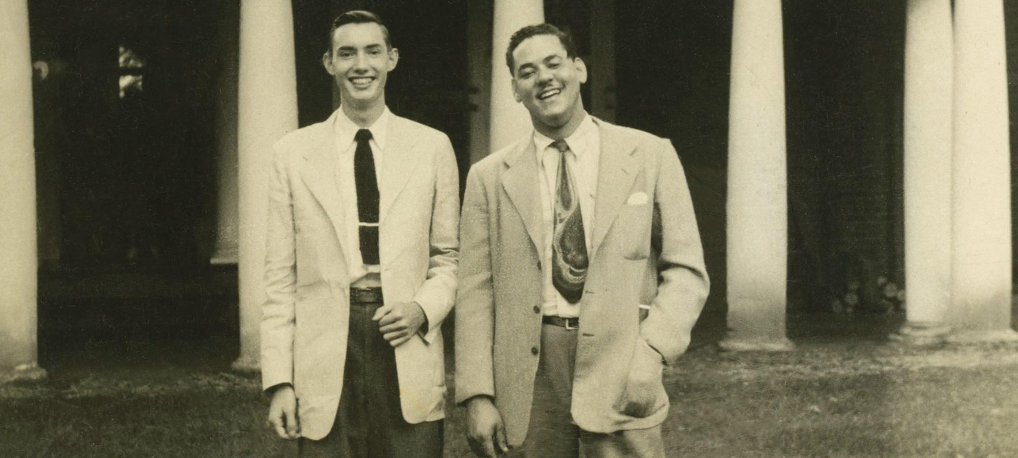 Gregory Swanson, right, on the University of Virginia Lawn