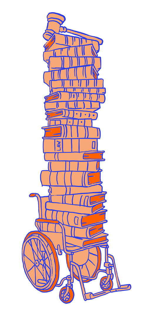 Wheelchair holding law books