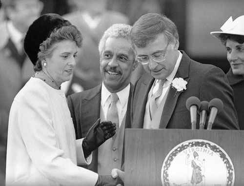 Terry with Gov. Douglas Wilder during her swearing-in ceremony.