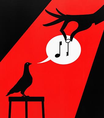 Illustration of bird singing for key