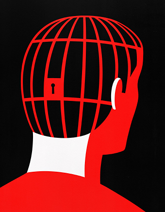 Illustration of man with jail in his head