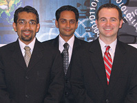 From left, business partners Hiren Patel '03, Kuna Patel, and Aaron Lawlor '03 started Aphelion Solutions.