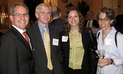 From Left: Scott Patrick '96, Professor John Harrison, Lindsay Grinols Simmons '07, and Suzanne Dans '96