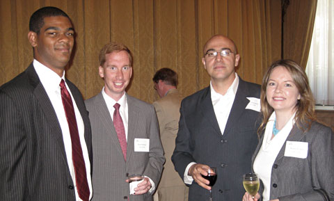From Left: Tillman Breckenridge '01, Ryan Hartman '05, Babak Djourabchi '01, and Monica Welt '01