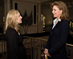Sali Rakower '99 and Her Majesty Queen Noor of Jordan at West Point before the Queen's address on the importance of the rule of law in securing international peace.