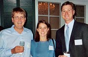 (from left) Brian Cox '98, Meg Gibbs Cox '96, and Mark Kutny '00.