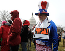 A demonstrator dressed as Uncle Sam