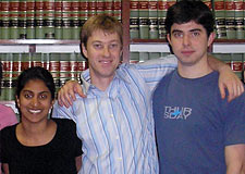 Law student volunteers for the LCAC, included (left to right) Neela Rathinasamy '05, third-year law student Will Gomaa, and second-year law student Ryan Harsch.