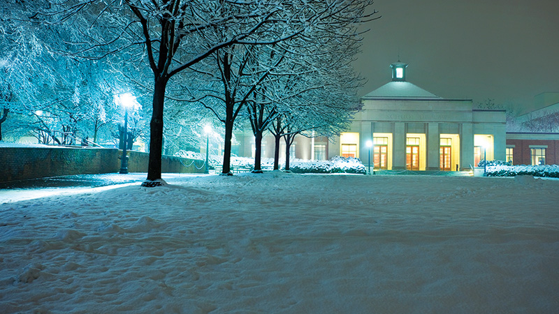 UVA Law School in snow