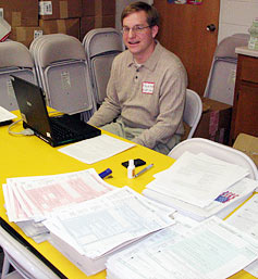 Third-year law student Tyler Kidd helped taxpayers at the Salvation Army last Saturday.