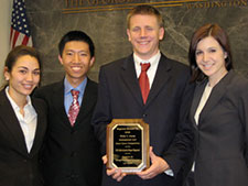 (From left) Megan Strand, Wenhong You, Jonathan Ware, and Caitlin Stapleton (John Beckett not pictured) won the best U.S. brief at the Philip C. Jessup International Law Moot Court Competition's International Round in Washington, D.C.