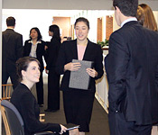 Students wait for their mock interviews.
