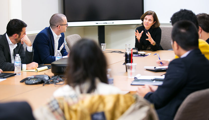 The Tri-Sector Fellows meet with Sarah Bloom-Raskin, former deputy secretary of the Treasury Department, at UVA's Batten School.